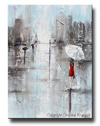 giclee print art abstract painting red umbrella grey