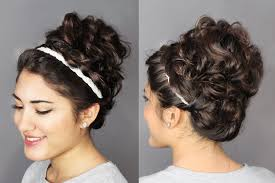 hairstyles for curly and messy hair second day hair holiday updo braided headband messy curly bun