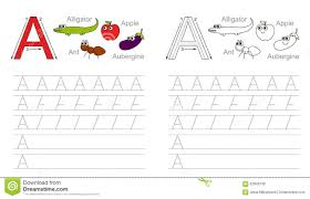tracing worksheet for letter a stock vector image 62840136