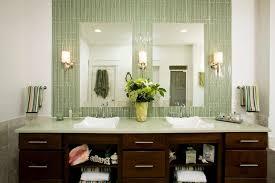 Mirrored Subway Tile Backsplash Bathroom Transitional With by Mirror Tile Backsplash Pictures
