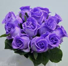 purple roses wedding bouquet bridesmaid real touch purple posy roses