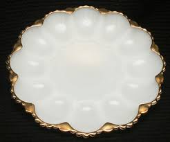 white deviled egg plate vtg milk white glass deviled egg plate anchor hocking gold trim
