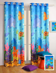 Jungle Curtains For Nursery Blackout Poly Satin Fabric Water World Window Curtains Set Of 2