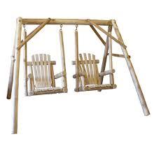 cedar log double chair swing lakeland mills