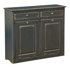 Kitchen Cabinet Trash Amish Large Pine Double Trash Bin Trash Bins Pine And Kitchens