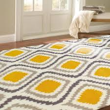 Modern Ikat Rug Handmade Modern Grey And Yellow Ikat Rug