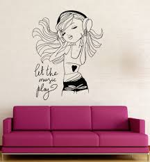 teen room decor ebay teen girl music headphones room decoration wall stickers vinyl decal ig3121