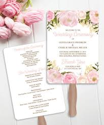 program fans creative union design pink floral printable wedding program fans