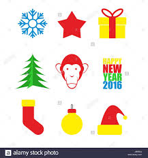 set symbols of new year christmas tree and monkey snowflake and