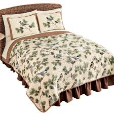 Gold Quilted Bedspread Amazon Com Woodland Birds And Pinecones Quilted Reversible