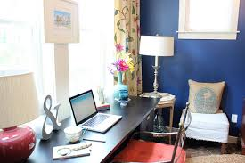 Navy And Pink Curtains Before And After Makeover Decorating A Home Office