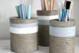 Tin Vases Diy Concrete Vases From Tin Cans Love Create Celebrate