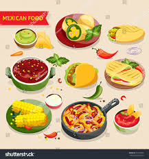 cuisine diet food set traditional mexico cuisine เวกเตอร สต อก 392738362