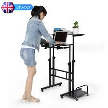 rolling adjustable laptop computer desk stand table with cpu