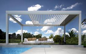 wall mounted pergola self supporting aluminum with sliding