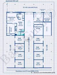 Barn Living Floor Plans Horse Barns With Living Quarters Stall Horse Barn With One