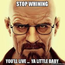 Stop Whining Meme - stop whining you ll live ya little baby walter white breaking