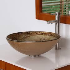 7003 elite modern design tempered glass bathroom vessel sink
