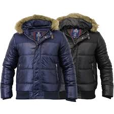 mens jacket crosshatch coat hooded padded quilted bubble puffer