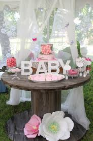 baby shower garden theme dessert table paper flowers eat