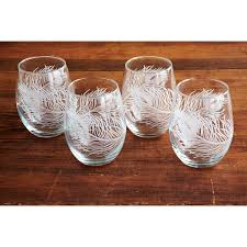 peacock stemless wine glasses and carafe peacocks wine and glass