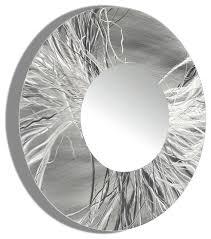 Circle Wall Mirrors Large Framed Round Wall Mirror Handmade Silver Modern Metal Wall
