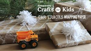 car tracks wrapping paper holiday crafts for kids pbs parents