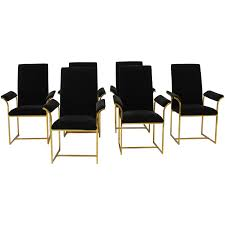 set of six brass milo baughman high back dining chairs dining