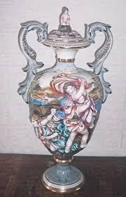 Capodimonte Vases Antique Rare Vintage Capodimonte Urn Marked Crown C Made In Italy