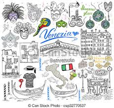drawings of venice italy sketch elements hand drawn set with flag