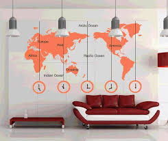 world map with country names contemporary wall decal sticker world map clock wall stickers removable diy decal living room