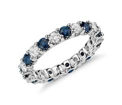 saphire rings 1 ct tw sapphire diamond eternity ring in platinum shop