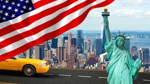 The Flag Of New York New York City With Liberty Statue Ad Yellow Cab The Big Apple