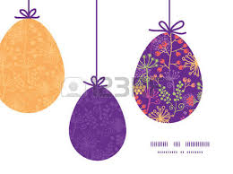 vector abstract green circles hanging easter eggs ornaments