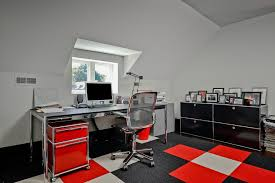 High Tech Desk High Tech Office Home Office Contemporary With Red Desk Top Red