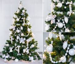 white or green christmas tree christmas lights decoration