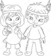coloring pictures for thanksgiving indian boy and holding hands for thanksgiving coloring page