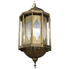 Morrocan Chandelier Antique Moroccan Islamic Style Brass And Green Glass Lantern