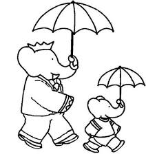 babar elephant pom holding umbrella coloring pages batch
