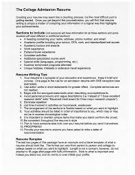 College Application Resume Sample by The College Admission Resume Free Download