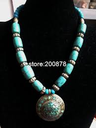 indian beaded necklace images Tnl227 tibetan handmade green turquoise big pendant beaded jpg