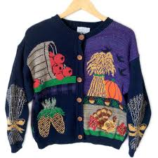vintage 90s turkey and fall thanksgiving sweater the