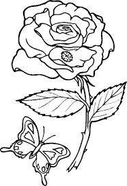 rose and butterfly coloring page download u0026 print online