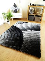 rugs uk modern new silver grey black luxurious thick pile rug modern soft silky