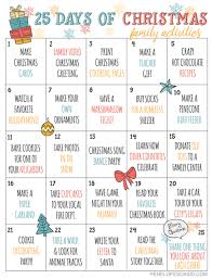 christmas calendar 25 days of christmas advent activities calendar printable