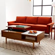 coffee table for long couch mid century pop up storage coffee table walnut west elm
