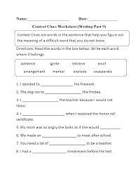 context clues worksheet writing part 9 intermediate context