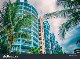 architectural flat building miami style south fotka 256902697