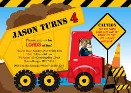 truck birthday party free printable construction birthday invitation templates