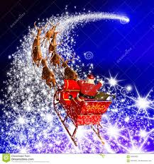 santa claus with reindeer sleigh flying on a falling star blue